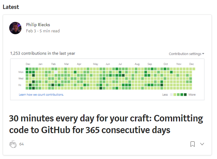 Medium post for Developer Habit Write Code For 365 consecutive days