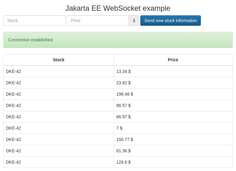Jakarta EE WebSocket example application