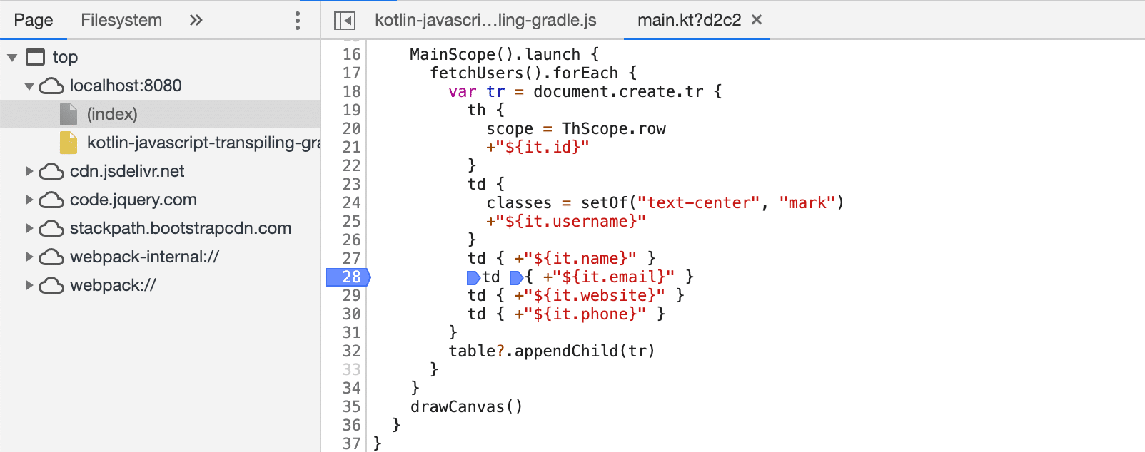 Debug Kotlin JavaScript code in the Browser