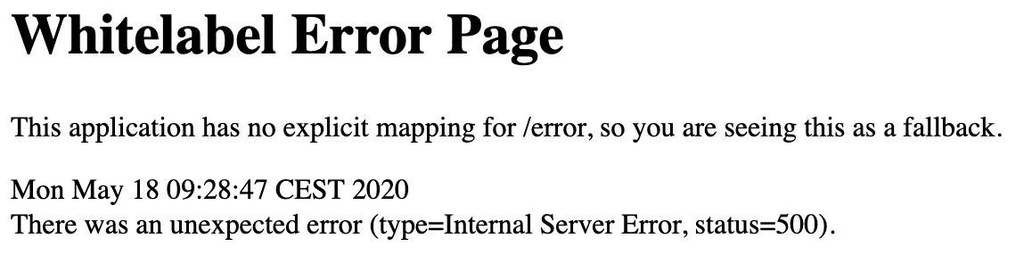 Spring Boot Whitelabel Error Page With 2.3