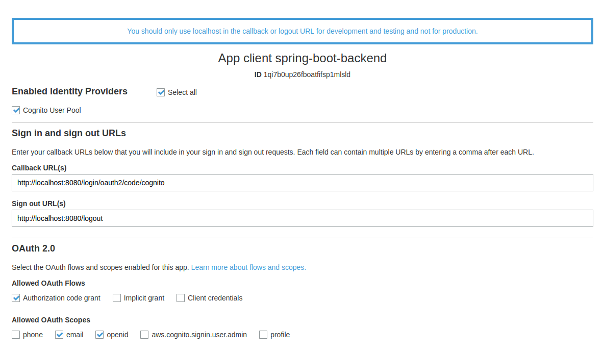 App client settings OAuth2 AWS Cognito